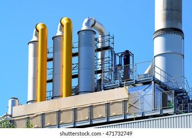 Industrial equipment to scrub pollutants from smokestack gases. Environment friendly.