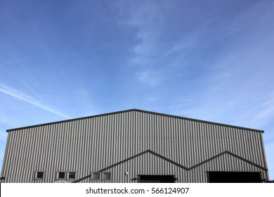 Industrial Estate Warehouse storage or factory unit with blue sky background