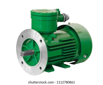 Industrial explosion-proof green asynchronous electric motor generator  isolated on white background explosively protected