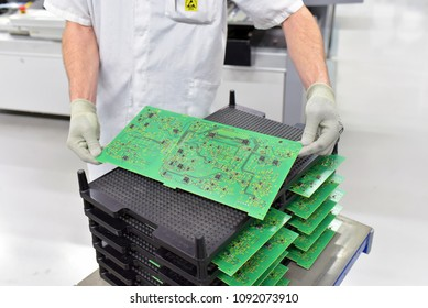 industrial factory for assembly of microelectronics - detail of hardware board component