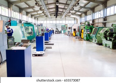 Industrial factory with cnc machines