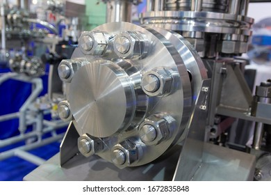 Industrial Factory equipment stainless tubes close up