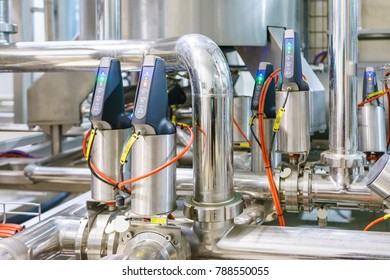 Industrial factory equipment stainless tubes food automation.