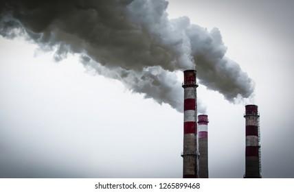 Industrial factory pipe smoke. Vaporizing toxicity.