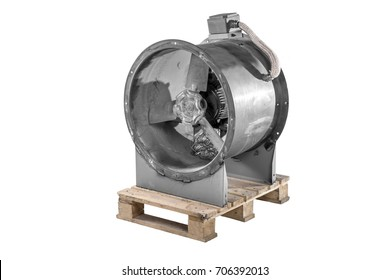 Industrial Fan Heater and Cooler isolated on white background. Blowers are machines whose primary function to provide and accommodate large flow of air or gas to various parts of building or structure