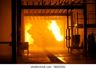 Industrial fire from pipes