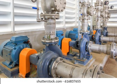 Industrial fire pump station for water sprinkler piping and fire alarm control system. Pipelines, water pump, valves, manometers