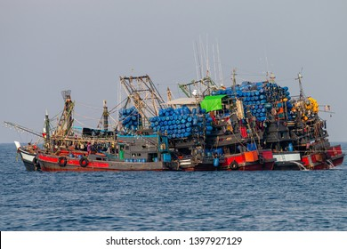 Industrial fishing - large industrial fishing trawlers operating together in the Andman Sea (Mergui Archipelago, Myanmar)