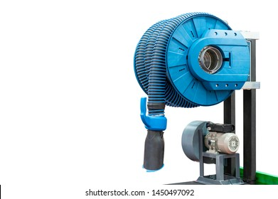 Industrial flexible tube hood & dust for suction smoke or fume machine of welding or multipurpose use with blower and motor for industrial etc isolated on white background with clipping path