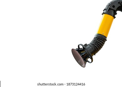 Industrial flexible tube hood and dust for suction smoke or fume of welding process or multipurpose use isolated on white background with clipping path