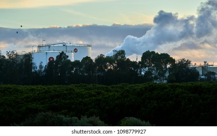 Industrial fuel storage tanks in a morning light with birds, clouds and smoke and dark foreground