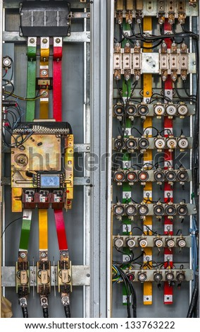 industrial fuse box on wall closeup stock photo edit now 133763222 rh shutterstock com