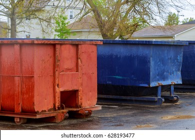 Industrial garbage container on construction site Dumpsters being with garbage