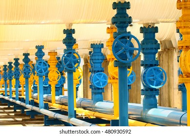Industrial hand valve gas in plant.