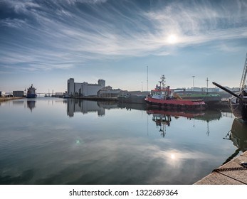 Industrial harbor in Vejle, Denmark