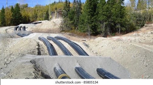 Industrial HDPE pipe laid on ground