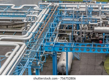 Industrial infrastructure in the factory. Pipes and transmission systems for fuels and technical gases.