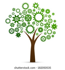Industrial innovation concept tree made from cogs and gears isolated  illustration