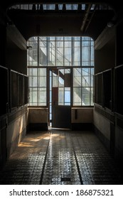 Industrial interior with br light from the windows