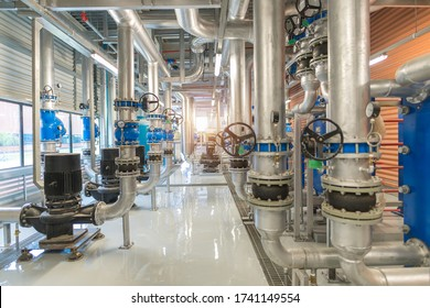 Industrial interior chiller and boiler HVAC heating ventilation air conditioning system and pipeping line of industrial construction at boiler pump room system in the factory