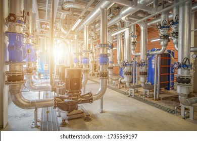 Industrial interior chiller and boiler system room of equipment heating, pipelines, water pump, valves and manometers system at the large building in factory