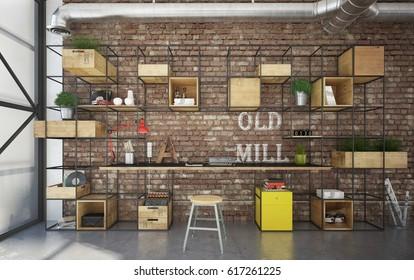 Industrial interior office - 3d render