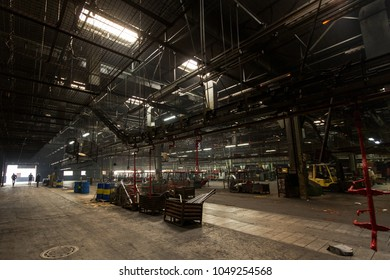 Industrial interior of old abandoned factory