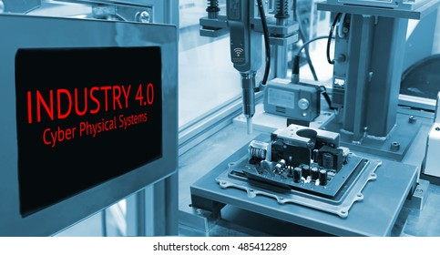 Industrial internet of things concept image , Cyber Physical Systems concept , Automate wireless Robot arm and industrial display instruments in smart factory and industry 4.0 text