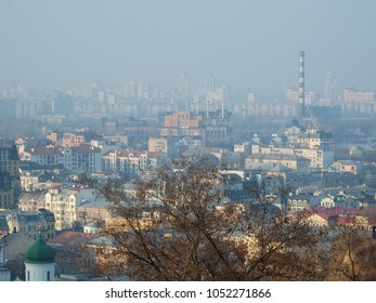Industrial Kiev city, view from the sublime mountain.