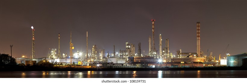 Industrial landscape by night
