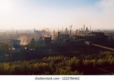 industrial landscape with heavy pollution produced by a large factory