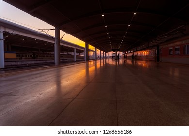 Industrial Landscape. Railway Station  Railroad At Suns