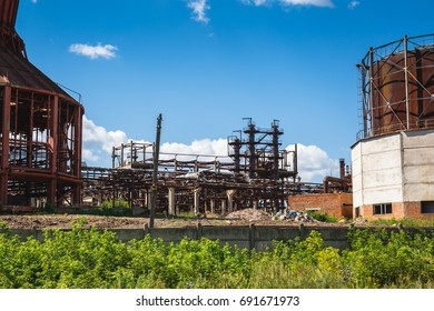 Industrial landscape, steel factory constructions