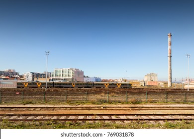 industrial landscape with train and railway