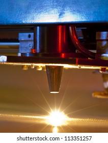 industrial laser cutting through steel mesh