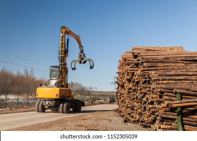 industrial loader at sawmill near pine logs