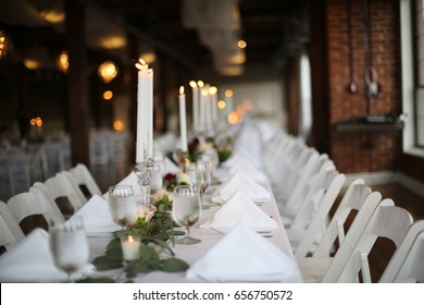 Industrial Loft with Brick Walls Decorated for Wedding Reception