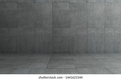 Industrial Loft style grey concrete cement square tiles wall and floor background .