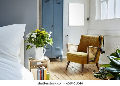 industrial loft with vintage furniture morning light and plants