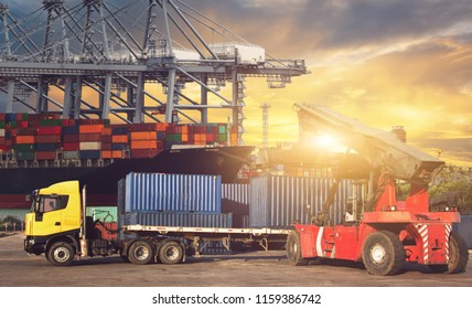 Industrial logistics and transportation of truck in Container yard for logistic and Cargo business plane at sunset