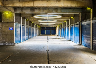 Industrial look pedestrian underpass in Golden Lane Estate, a 1950s council housing complex in the City of London.