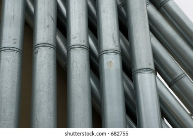Industrial looking rooftop pipes. New York City.