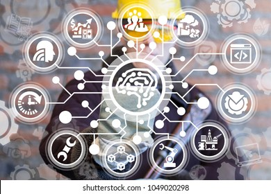Industrial manufacturer pressing brain circuit board on a virtual interface. Smart Industry 4.0. Cybernetic High-Tech Innovative Manufacturing. Semiconductor Brain.