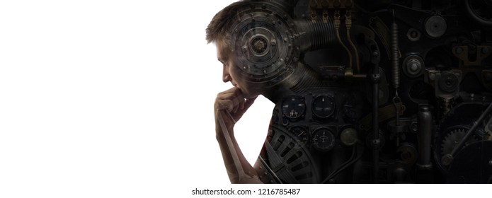 Industrial mechanism on the background of the silhouette of a thinking man. Conceptual background on industry, technology, science, etc. Retro steampunk style.