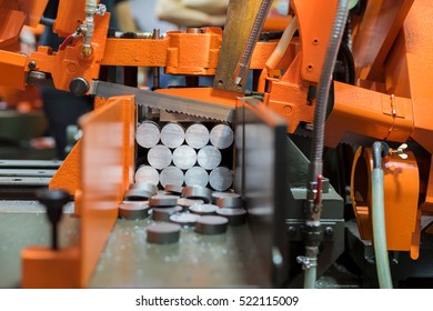 Industrial metal machining cutting process of blank in factory