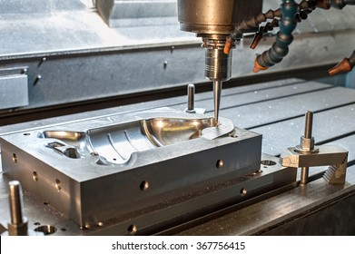Industrial metal mold/blank milling. Metalworking. Lathe, milling and drilling industry. CNC technology.