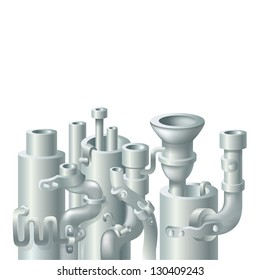 Industrial metal  pipe stack design, theme of ecology, raster version