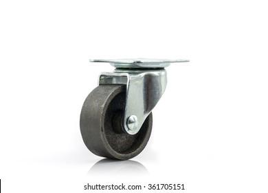 Industrial metal wheels or Caster steel wheels on white background.