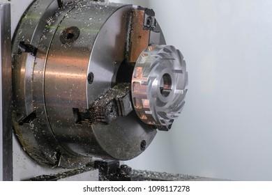 Industrial metalworking machine close up