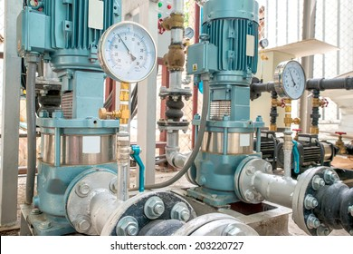 Industrial motor pump with Pressure Gauges in factory
